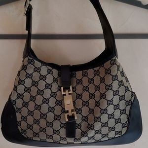 Gucci Vintage Jackie O Logo Leather/Canvas Hobo